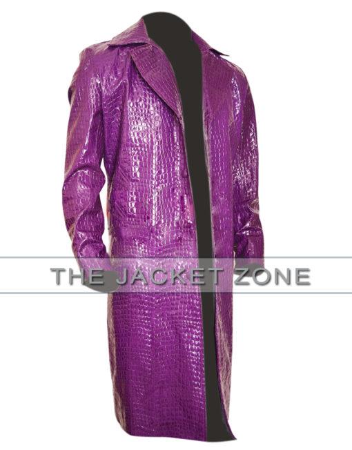 Purple Crocodile Trench Coat