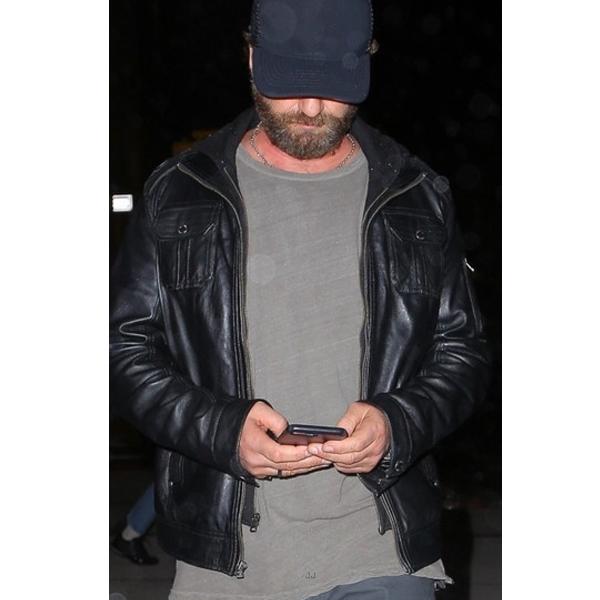 New York New York City: Gerard Butler New York City Leather Jacket