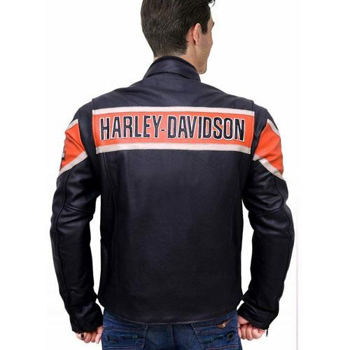 Men/'s Classic Black Leather Harley Davidson Black Victory Lane Motorcycle Jacket